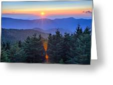Blue Ridge Parkway Autumn Sunset Over Appalachian Mountains  Greeting Card