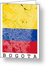 Bogota Street Map - Bogota Colombia Road Map Art On Colored Back Greeting Card