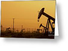 California Oil Field Under Amber Sky Greeting Card