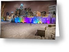 Charlotte Queen City Skyline Near Romare Bearden Park In Winter Snow Greeting Card