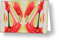 Dancing Tulip Red Exotic Flower Petal Based Wave Pattern  Created By Navinjoshi Reiki Healing Master Greeting Card