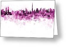 Dubai Skyline In Watercolour On White Background Greeting Card