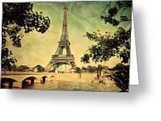 Eiffel Tower And Bridge On Seine River In Paris Greeting Card