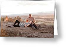 Engaged Couple At Smith Rock In Oregon Greeting Card