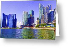 Financial District Of Singapore And View Of The Water In Singapore Greeting Card
