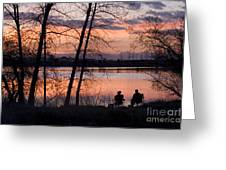 Fly Fishing At Sunset Greeting Card