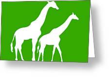 Giraffe In Green And White Greeting Card