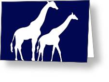 Giraffe In Navy And White Greeting Card