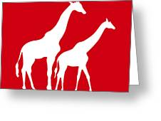 Giraffe In Red And White Greeting Card