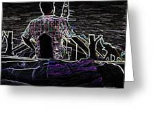 Lady Sleeping While Boatman Steers Greeting Card