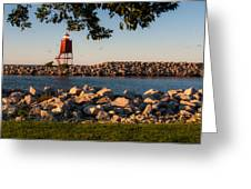 Lighthouse In Lake Michigan Nature Scenary Near Racine Wisconsin Greeting Card