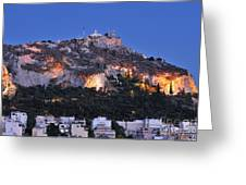 Lycabettus Hill During Dusk Time Greeting Card