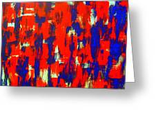 Modern Abstract Painting Original Canvas Art Shadow People By Zee Clark Greeting Card