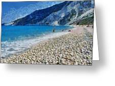 Myrtos Beach In Kefallonia Island Greeting Card