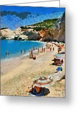 Porto Katsiki Beach In Lefkada Island Greeting Card