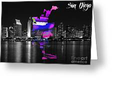 San Diego California Map And Skyline Greeting Card