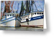 Shrimp Boats On The Creek Greeting Card