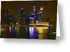 Singapore Skyline As Seen From The Pedestrian Bridge Greeting Card