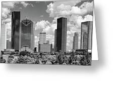 Skyscrapers In A City, Houston, Texas Greeting Card