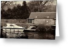 Small White Yacht In The Water Of The Caledonian Canal Greeting Card