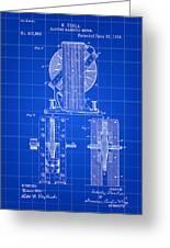 Tesla Electro Magnetic Motor Patent 1889 - Blue Greeting Card