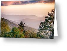 The Simple Layers Of The Smokies At Sunset - Smoky Mountain Nat. Greeting Card