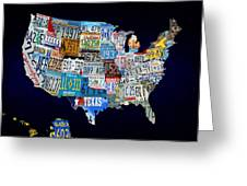 The Usa License Tag Map Greeting Card