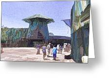 Visitors Heading Towards The Waterworld Attraction Greeting Card