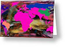 World Map And Human Life Greeting Card