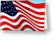 50 Star American Flag Closeup Abstract 9 Greeting Card by L Brown