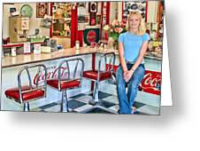 50s American Style Soda Fountain Greeting Card by David Smith