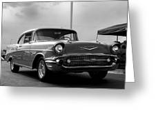 57 Chevy Bel-aire In Bw Greeting Card