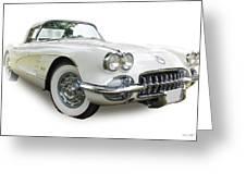 59-60 Corvette White On White Greeting Card