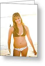 A Surfer Girl Poses For Fun Portraits Greeting Card