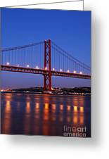 April Bridge In Lisbon Greeting Card