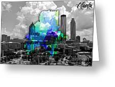 Atlanta Map And Skyline Watercolor Greeting Card