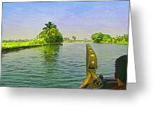 Captain Of The Houseboat Surveying Canal Greeting Card