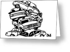 6 Cars Pile On Top Of One Another Greeting Card