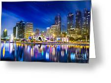 City Town At Night Greeting Card