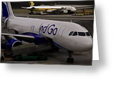 Indigo Aircraft Getting Ready In Changi Airport Greeting Card