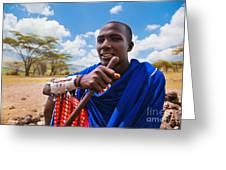 Maasai Man Portrait In Tanzania Greeting Card