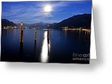 Moon Light Over An Alpine Lake Greeting Card