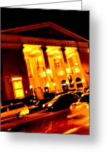 Moving Fast In The Town At Night  Greeting Card