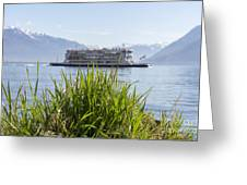 Passenger Ship On An Alpine Lake Greeting Card