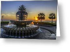 Sun Rays Over Waterfront Park Greeting Card