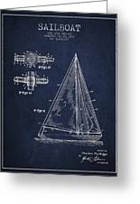 Sailboat Patent Drawing From 1938 Greeting Card