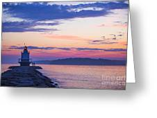 Sunrise At Spring Point Lighthouse Greeting Card