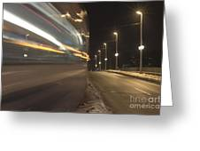 Tram At Night Greeting Card
