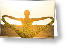 Yoga Practice At Sunrise Greeting Card