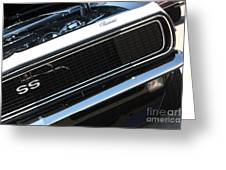 67 Black Camaro Ss Grill-8039-2 Greeting Card
